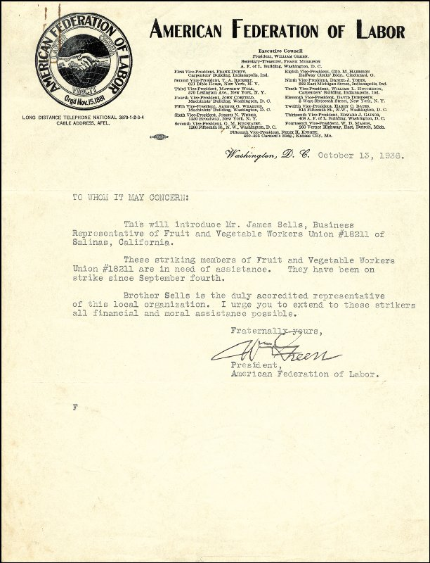 Image 1 for William Green - Typed Letter Signed 10/13/1936 - HFSID 17951
