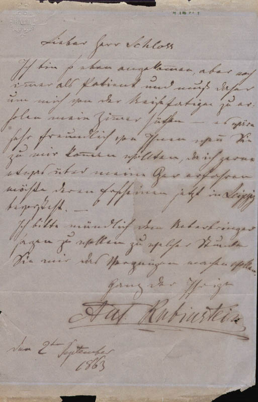 Image 1 for Anton Rubinstein - Autograph Letter Signed 09/02/1863 - HFSID 179555
