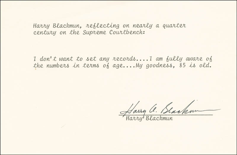 Image 1 for Associate Justice Harry A. Blackmun - Typed Quotation Signed - HFSID 179952