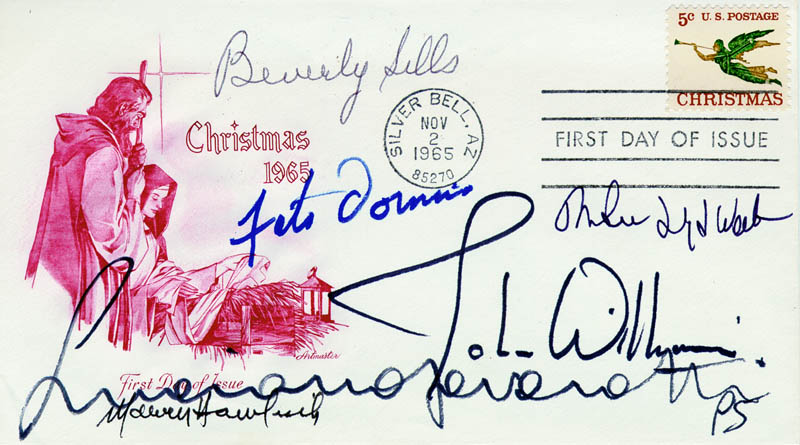 Image 1 for John Williams - First Day Cover Signed co-signed by: Marvin Hamlisch, Fats Domino, Beverly Sills, Andrew Lloyd Webber, Luciano Pavarotti - HFSID 179960