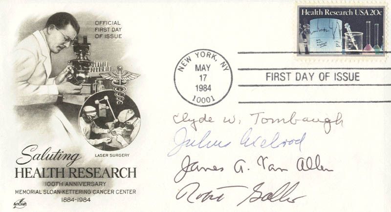 Image 1 for Clyde William Tombaugh - First Day Cover Signed co-signed by: James A. Van Allen, Julius Axelrod, Robert Charles Gallo - HFSID 179962