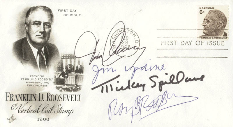Image 1 for Tom Clancy - First Day Cover Signed co-signed by: Ray Bradbury, Mickey Spillane, John Updike - HFSID 179963