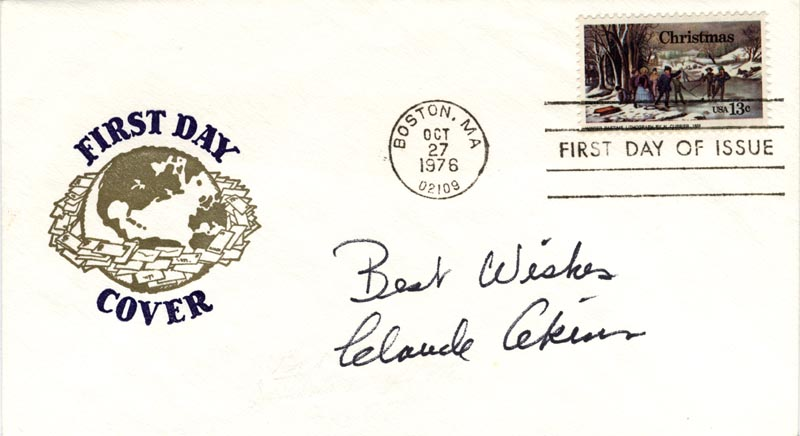 Image 1 for Claude Akins - First Day Cover With Autograph Sentiment Signed - HFSID 180050