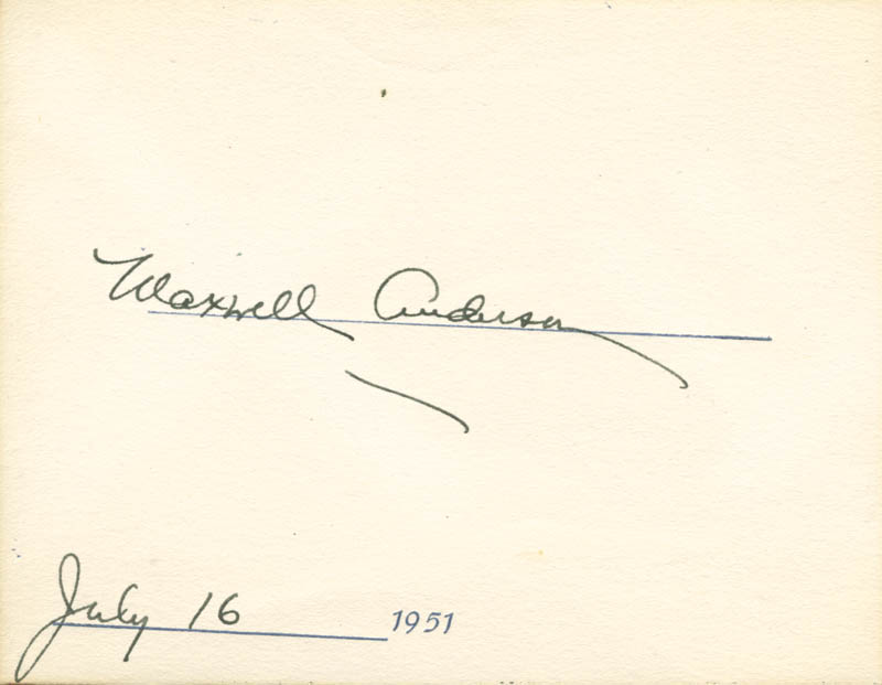 Image 1 for Maxwell Anderson - Autograph 07/16/1951 - HFSID 180154