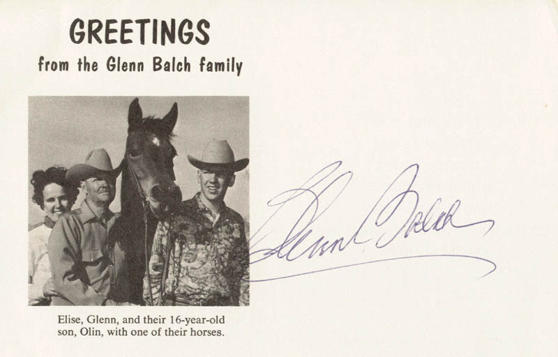 Image 1 for Glenn Balch - Picture Post Card Signed - HFSID 180157