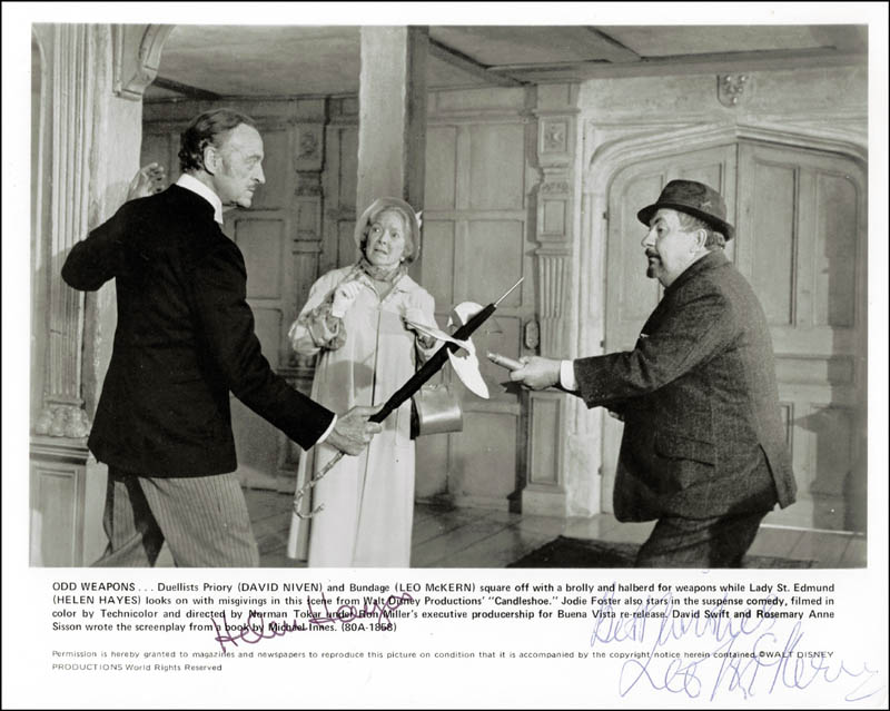 Image 1 for Candleshoe Movie Cast - Autographed Signed Photograph co-signed by: Helen Hayes, Leo Mckern - HFSID 180458