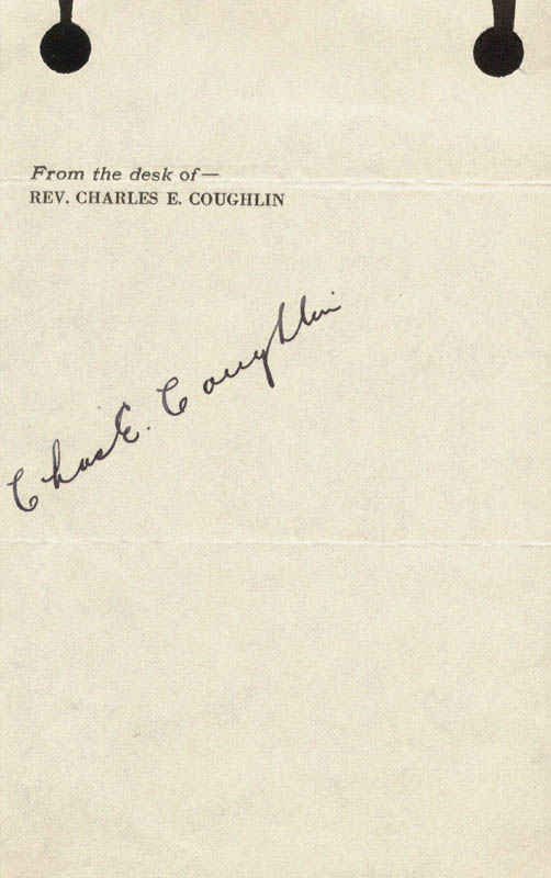Image 1 for Charles Coughlin - Autograph Circa 1935 - HFSID 180562