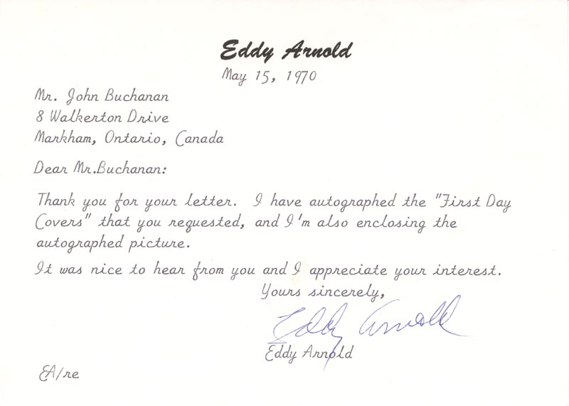 Image 1 for Eddy Arnold - Typed Letter Signed 05/15/1970 - HFSID 180733