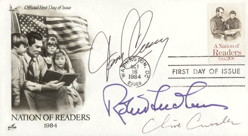 Image 1 for Tom Clancy - First Day Cover Signed co-signed by: Robert Ludlum, Clive Cussler - HFSID 180799