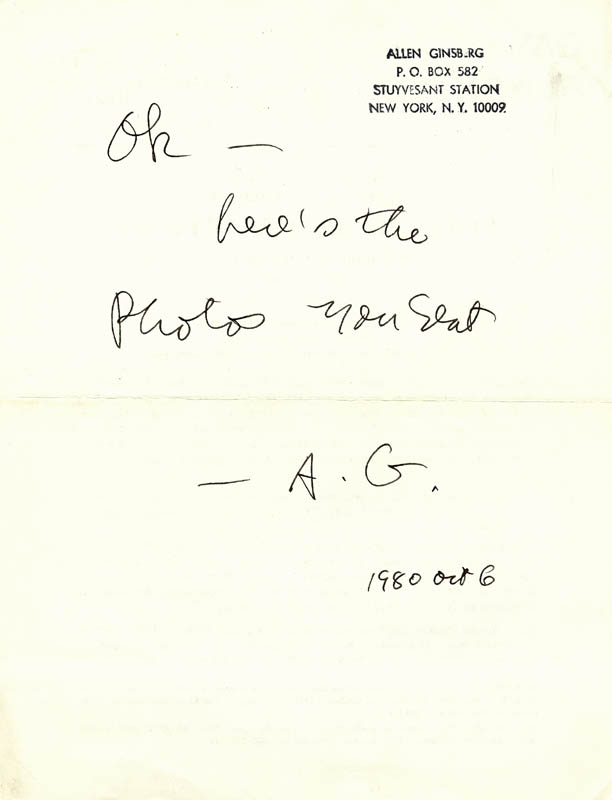 Image 1 for Allen Ginsberg - Autograph Note Signed 10/06/1980 - HFSID 180859