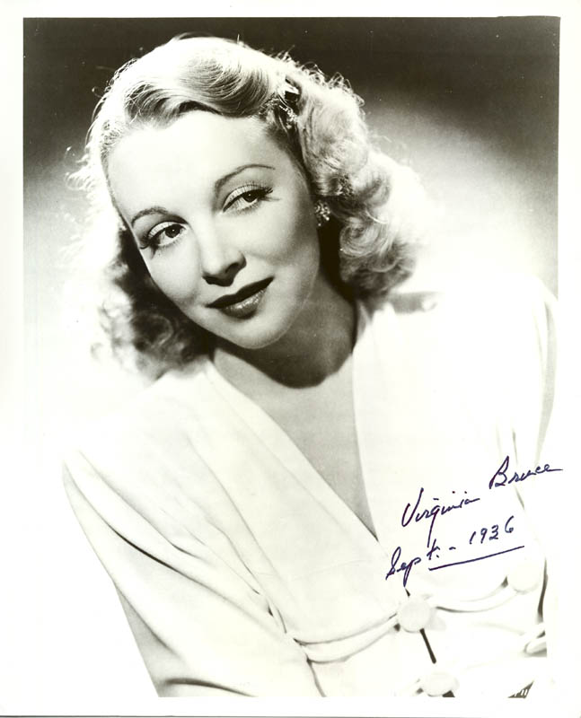 Image 1 for Virginia Bruce - Autographed Signed Photograph 09/1936 - HFSID 181442