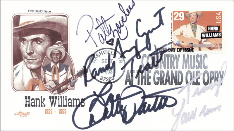 Image 1 for Dolly Parton - First Day Cover Signed co-signed by: Amy Grant, Patty Loveless, Tracy Lawrence, Randy Travis - HFSID 181856
