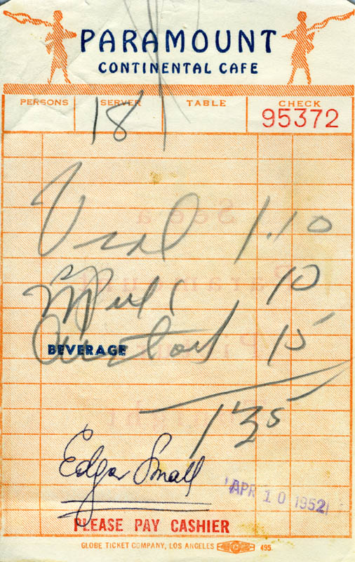 Image 1 for Edgar Small - Meal Ticket Signed 04/10/1952 - HFSID 181929