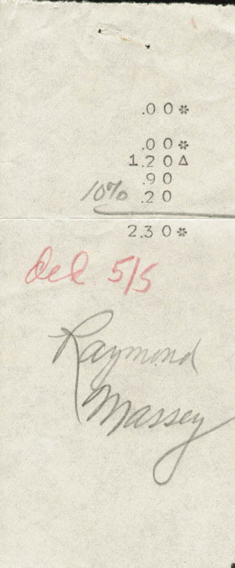 Image 1 for Raymond Massey - Receipt Signed - HFSID 181952