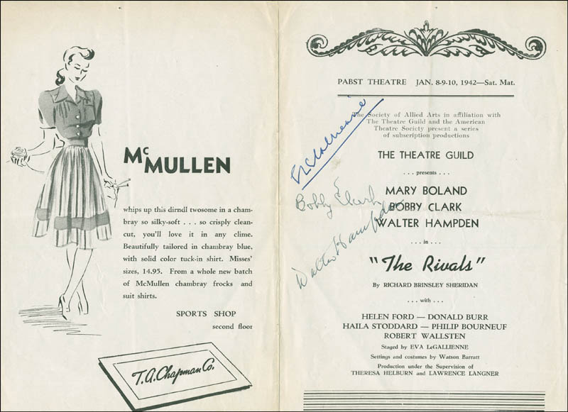 Image 1 for The Rivals Play Cast - Show Bill Signed co-signed by: Walter Hampden, Eva Le Gallienne, Bobby Clark - HFSID 182136