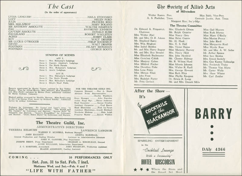 Image 3 for The Rivals Play Cast - Show Bill Signed co-signed by: Walter Hampden, Eva Le Gallienne, Bobby Clark - HFSID 182136