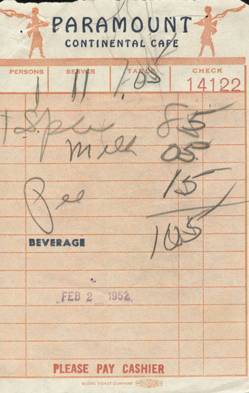 Image 3 for Paul Jones - Receipt Signed 02/02/1952 - HFSID 182183
