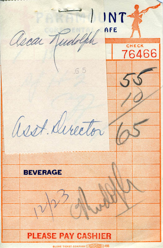 Image 1 for Oscar Rudolph - Meal Ticket Signed - HFSID 182197