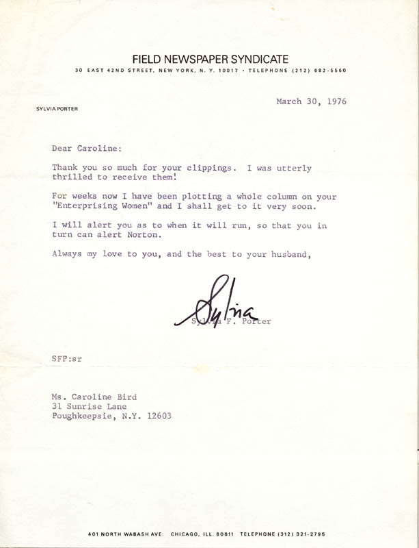 Image 1 for Sylvia Porter - Typed Letter Signed 03/30/1976 - HFSID 18226