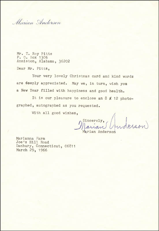 Image 1 for Marian Anderson - Typed Letter Signed 03/29/1966 - HFSID 182537