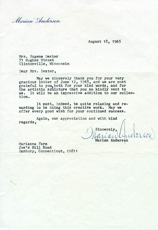 Image 1 for Marian Anderson - Typed Letter Signed 08/18/1965 - HFSID 182538