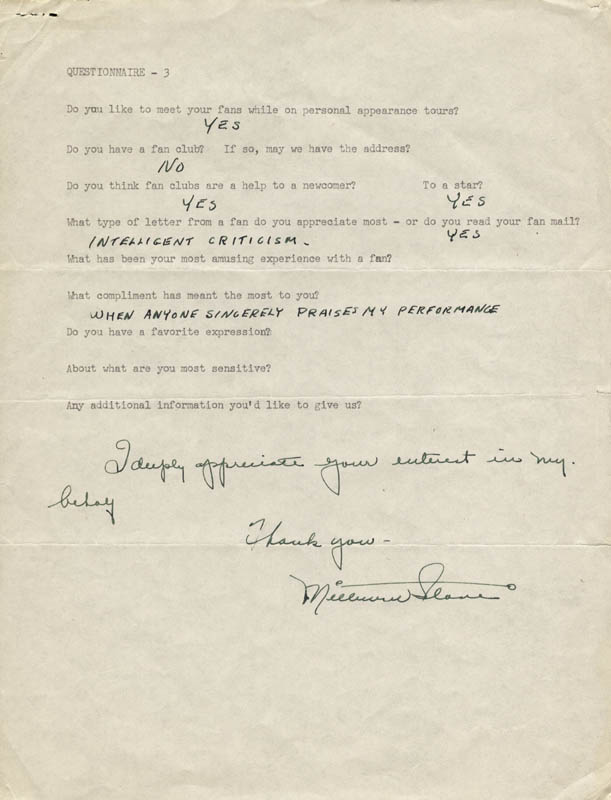 Image 1 for Milburn Stone - Questionnaire Signed Circa 1954 - HFSID 182540