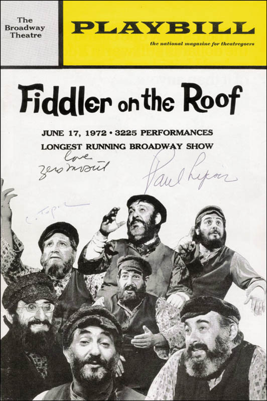 Image 1 for Fiddler On The Roof Play Cast - Show Bill Signed co-signed by: Chaim Topol, Paul Lipson, Zero Mostel - HFSID 182556