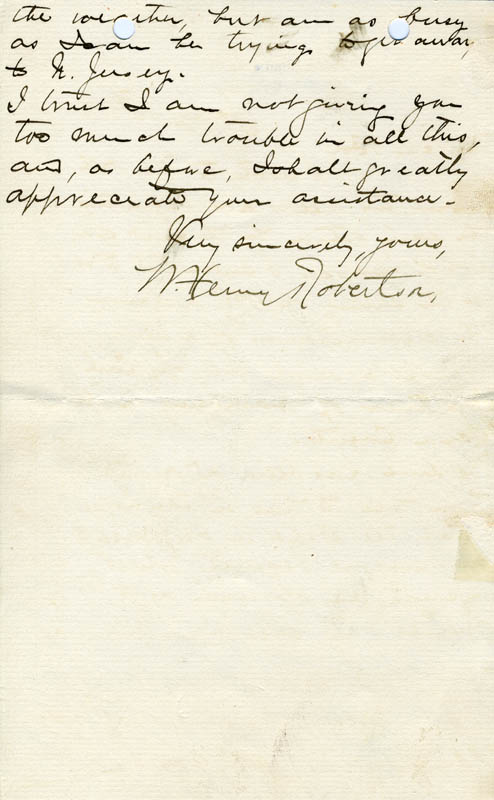 Image 1 for William Henry Robertson - Autograph Letter Signed 01/18/1899 - HFSID 18266