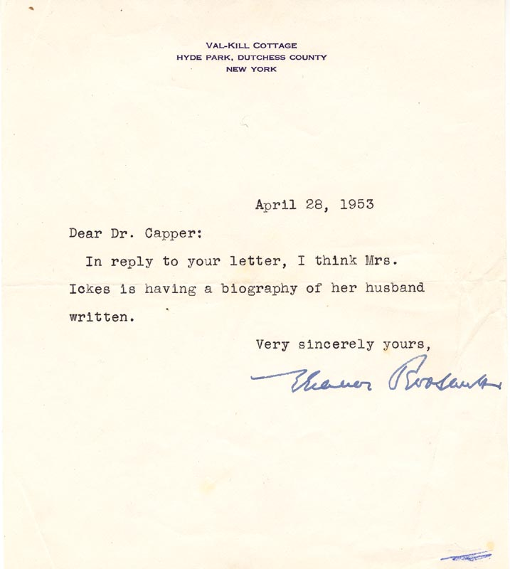 Image 1 for First Lady Eleanor Roosevelt - Typed Letter Signed 04/28/1953 - HFSID 18268