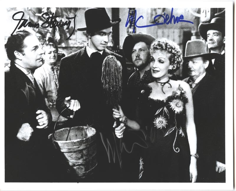 Image 1 for Destry Rides Again Movie Cast - Autographed Signed Photograph co-signed by: Marlene Dietrich, James 'Jimmy' Stewart - HFSID 182840