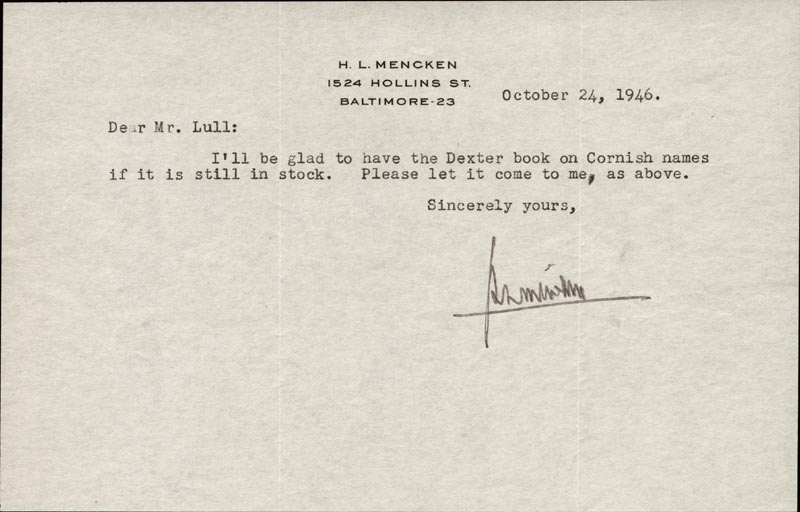 Image 1 for H. L. (Henry Louis) Mencken - Typed Letter Signed 10/24/1946 - HFSID 1850