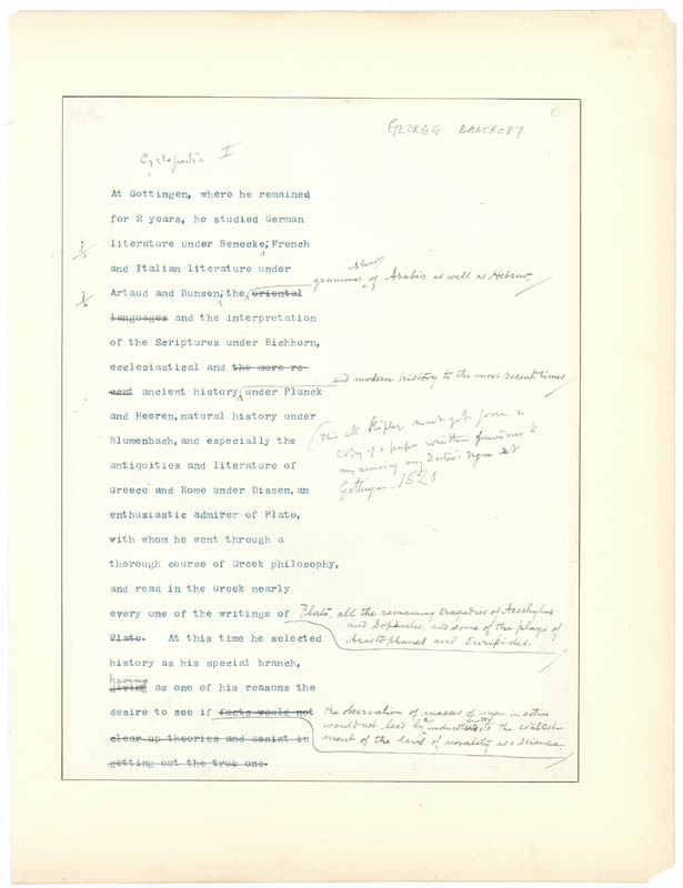 Image 1 for George Bancroft - Annotated Typed Manuscript Unsigned - HFSID 1851