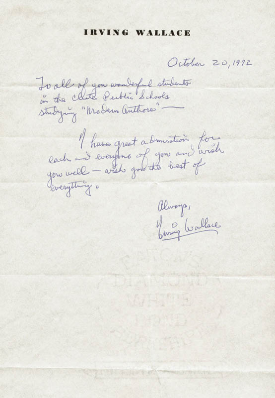 Image 1 for Irving Wallace - Autograph Letter Signed 10/20/1972 - HFSID 185886