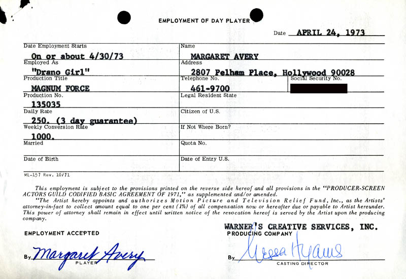 Image 1 for Magnum Force Movie Cast - One Day Movie Contract Signed 04/24/1973 co-signed by: Nessa Hyams, Margaret Avery - HFSID 186893