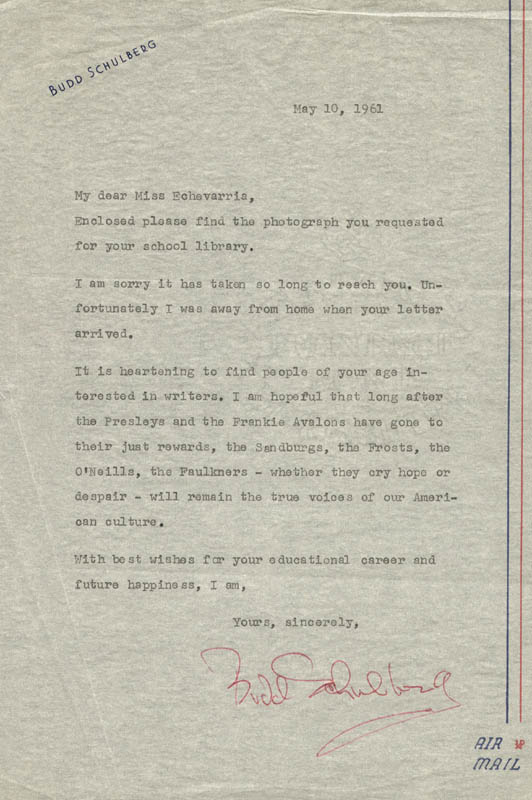 Image 1 for Budd Schulberg - Typed Letter Signed 05/10/1961 - HFSID 18690