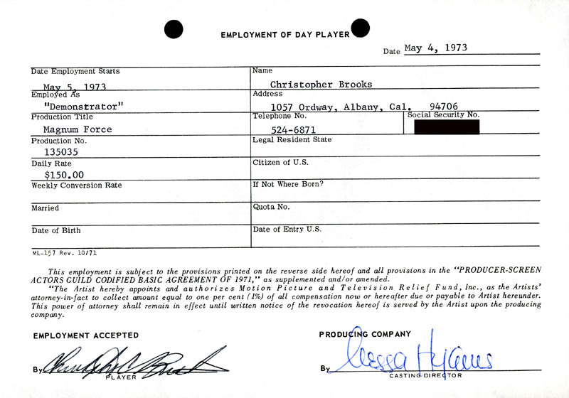 Image 1 for Magnum Force Movie Cast - One Day Movie Contract Signed 05/04/1973 co-signed by: Nessa Hyams, Christopher Brooks - HFSID 186907