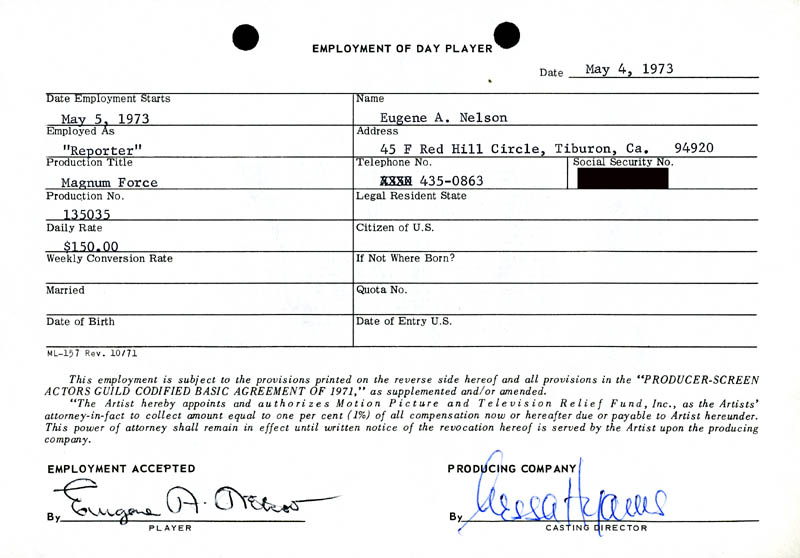 Image 1 for Magnum Force Movie Cast - One Day Movie Contract Signed 05/04/1973 co-signed by: Nessa Hyams, Eugene A. Nelson - HFSID 186920