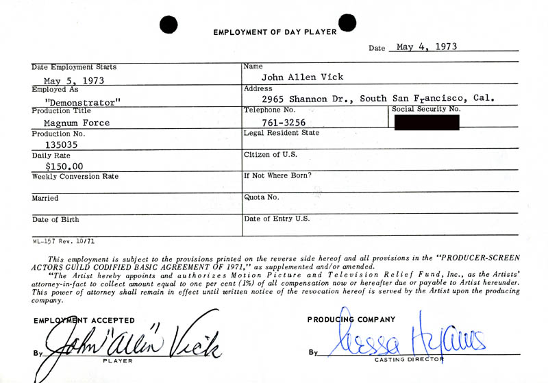 Image 1 for Magnum Force Movie Cast - One Day Movie Contract Signed co-signed by: Nessa Hyams, John Allen Vick - HFSID 186924