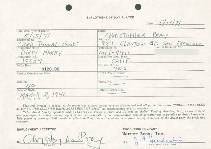 Image 1 for Dirty Harry Movie Cast - One Day Movie Contract Signed 05/13/1971 co-signed by: Jim E. Henderling, Christopher Pray - HFSID 187023