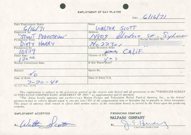 Image 1 for Dirty Harry Movie Cast - One Day Movie Contract Signed 06/16/1971 co-signed by: Jim E. Henderling, Walter Scott - HFSID 187042