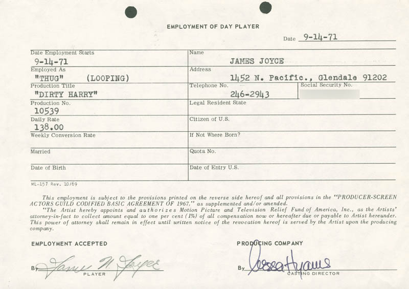 Image 1 for Dirty Harry Movie Cast - One Day Movie Contract Signed 09/14/1971 co-signed by: Nessa Hyams, James N. Joyce - HFSID 187047