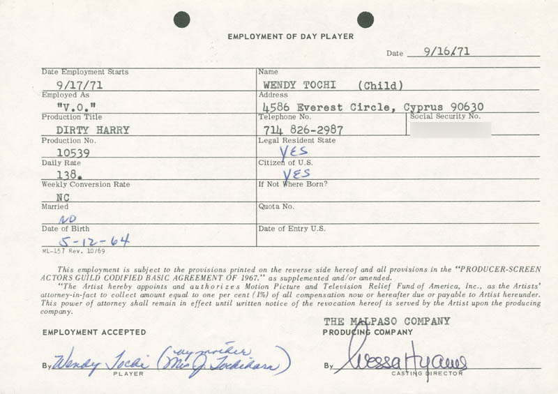 Image 1 for Nessa Hyams - One Day Movie Contract Signed 09/16/1971 - HFSID 187052