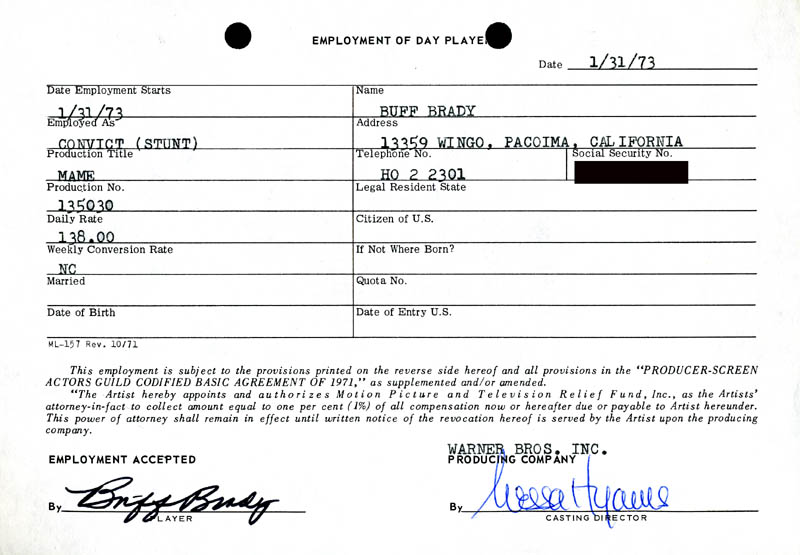 Image 1 for Mame Movie Cast - One Day Movie Contract Signed 01/31/1973 co-signed by: Nessa Hyams, Buff Brady - HFSID 187060