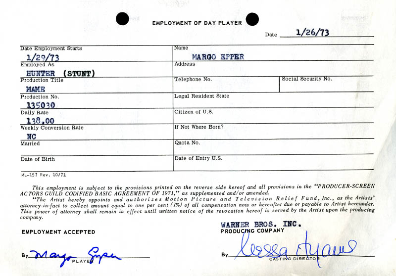 Image 1 for Mame Movie Cast - One Day Movie Contract Signed 01/26/1973 co-signed by: Nessa Hyams, Margo Epper - HFSID 187070