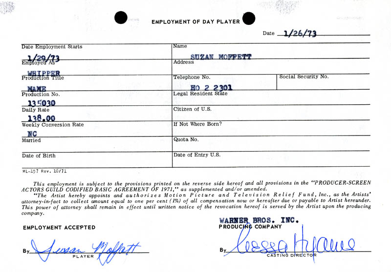 Image 1 for Mame Movie Cast - One Day Movie Contract Signed 01/26/1973 co-signed by: Nessa Hyams, Susan Moffatt - HFSID 187075