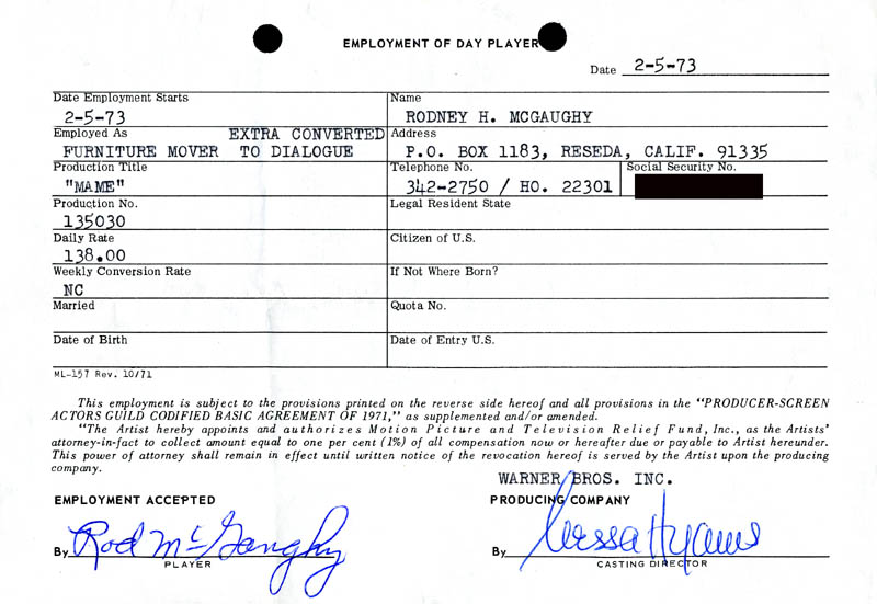 Image 1 for Mame Movie Cast - One Day Movie Contract Signed 02/05/1973 co-signed by: Nessa Hyams, Rod Mcgaughy - HFSID 187083