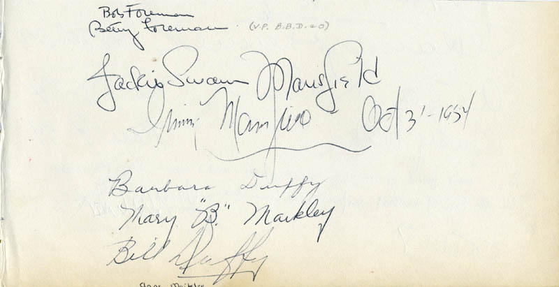 Image 1 for Jacqueline Susann - Autograph 10/03/1954 co-signed by: Bob Foreman, Betty Foreman, Barbara Duffy, Bill Duffy, Irving Mansfield - HFSID 18803
