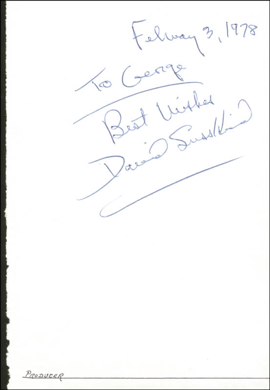 Image 1 for David Susskind - Autograph Note Signed 02/03/1978 - HFSID 18806