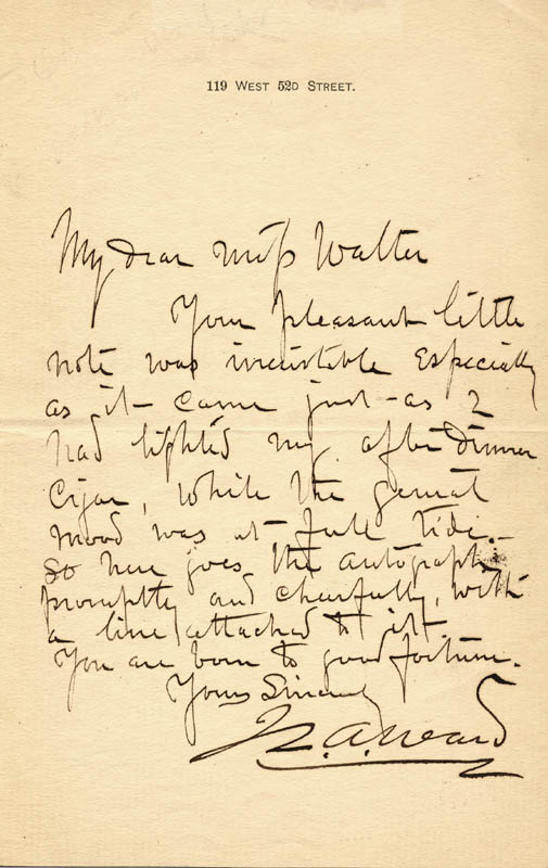 Image 1 for John Quincy Adams Ward - Autograph Letter Signed - HFSID 18856