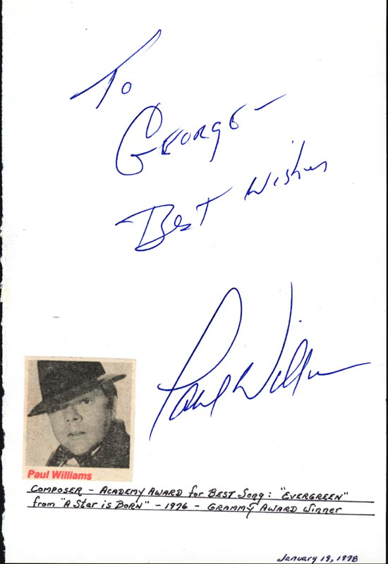 Image 1 for Paul Williams - Autograph Note Signed Circa 1978 - HFSID 18885